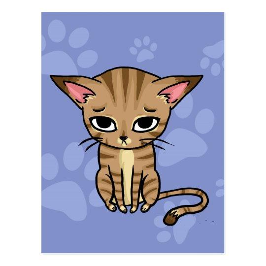 Sad Tabby cat Kitten Postcard