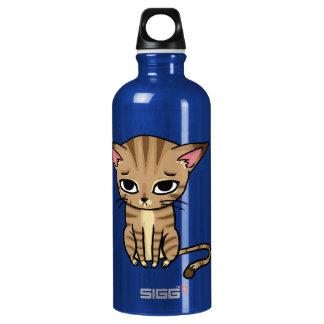 Sad Tabby cat Kitten Water Bottle