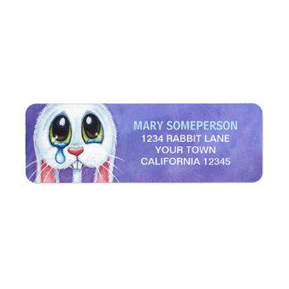 Sad Tearful White Bunny Return Address Label