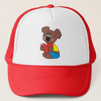 Sad Teddy Bear with a Heart Hat