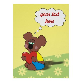 Sad Teddy Bear with Heart Personalized Posters