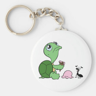 Sad Turtle Happy Ant Keychain