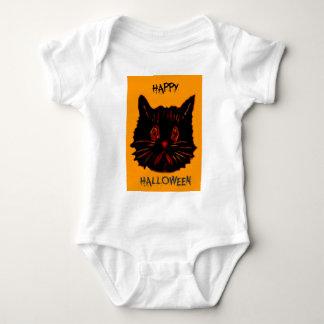 Sad Unhappy Frown Glum Gloomy Down Black Cat Baby Bodysuit