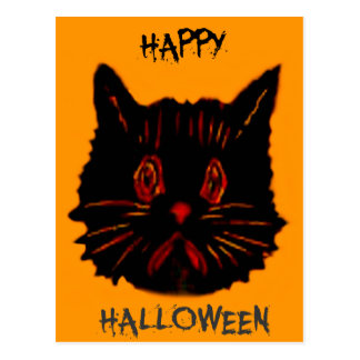 Sad Unhappy Frown Glum Gloomy Down Black Cat Post Card