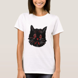 Sad Unhappy Frown Glum Gloomy Down Black Cat T-Shirt