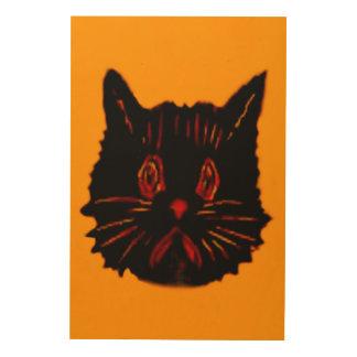 Sad Unhappy Frown Glum Gloomy Down Black Cat Wood Wall Art