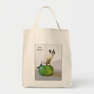 Sad Watermelon Kitty Grocery Tote