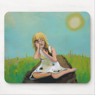 Sad woman finds comfort in soil earth dirt mouse pad