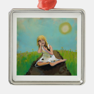 Sad woman finds comfort in soil earth dirt christmas tree ornament