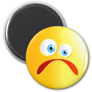 Sad Yellow Smilie 2 Inch Round Magnet