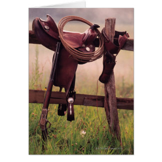 Saddle and Lasso on Fence Greeting Card