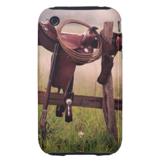 Saddle and lasso on fence tough iPhone 3 cases