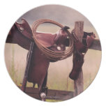 Saddle and Lasso on Fence Dinner Plates