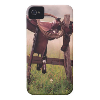 Saddle and lasso on fence iPhone 4 case