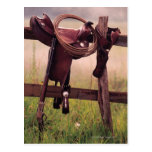 Saddle and Lasso on Fence Postcard