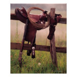 Saddle and Lasso on Fence Poster