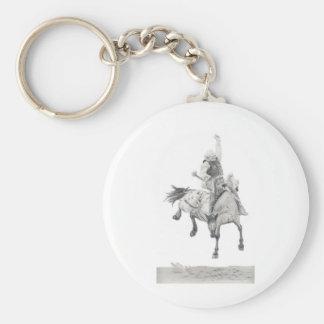Saddle Bronc Basic Round Button Keychain