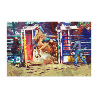 Saddle Bronc Breaking Out of Rodeo Chute w Cowboy Canvas Print
