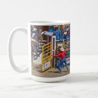 Saddle Bronc Breaking Out of Rodeo Chute w Cowboy Coffee Mug