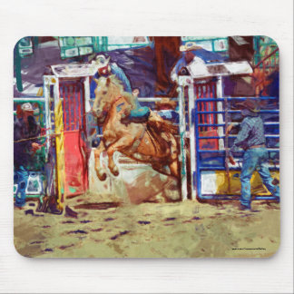 Saddle Bronc Breaking Out of Rodeo Chute w Cowboy Mouse Pad