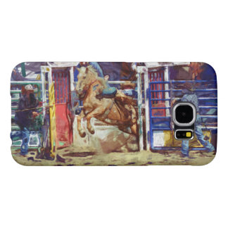 Saddle Bronc Breaking Out of Rodeo Chute w Cowboy Samsung Galaxy S6 Case