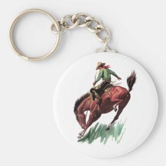 Saddle Bronc Riding Basic Round Button Keychain