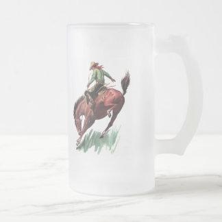 Saddle Bronc Riding Frosted Glass Beer Mug