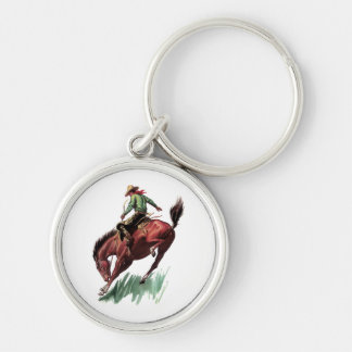 Saddle Bronc Riding Silver-Colored Round Keychain