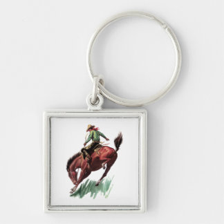 Saddle Bronc Riding Silver-Colored Square Keychain