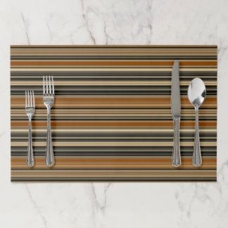 Saddle Brown and Black Striped Pattern Paper Placemat