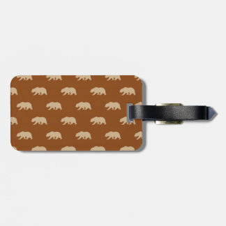Saddle Brown and Tan Grizzly Bear Pattern Travel Bag Tag