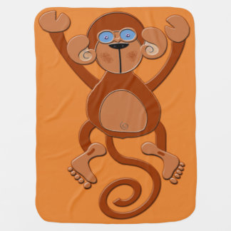 Saddle Brown Monkey Swaddle Blanket