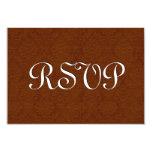 Saddle Brown RSVP Vintage Damask Wedding S217 3.5x5 Paper Invitation Card