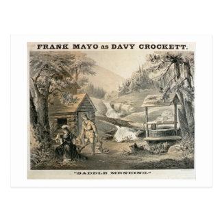 'Saddle Mending', Poster for 'Davy Crockett' starr Postcard