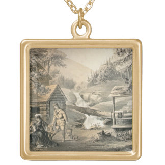 'Saddle Mending', Poster for 'Davy Crockett' starr Square Pendant Necklace