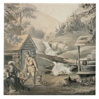 'Saddle Mending', Poster for 'Davy Crockett' starr Ceramic Tile