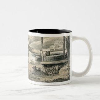 'Saddle Mending', Poster for 'Davy Crockett' starr Two-Tone Coffee Mug