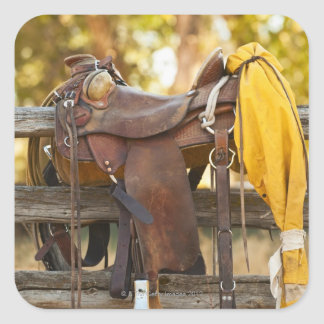 Saddle on fence square sticker