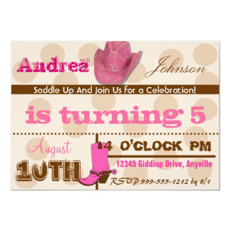 "Saddle Up Cowgirl Birthday Party Invites 5"" X 7"" Invitation Card"