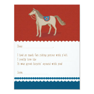 Saddle Up Fill-in-the-Blank Thank You Card: Red Card