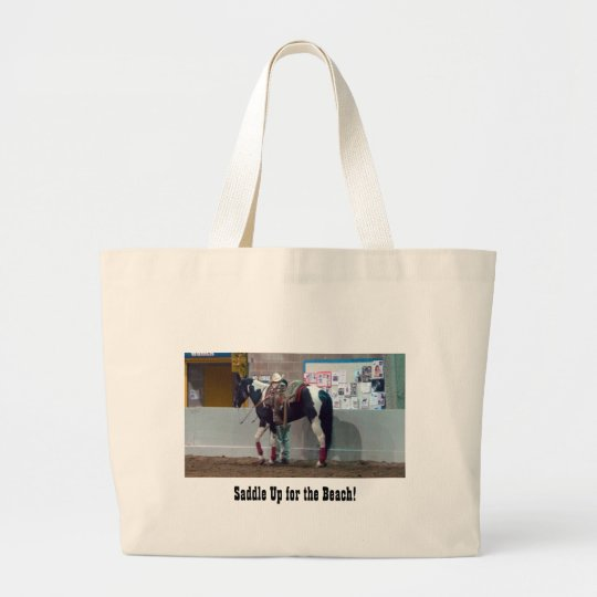 Saddle Up for the Beach! Large Tote Bag