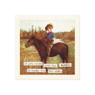 Saddle Up Vintage Cowgirl and Horse Art Canvas Print