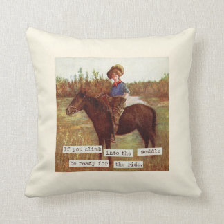Saddle Up Vintage Cowgirl and Horse Pillow