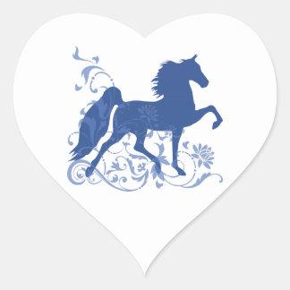 Saddlebred Five Gait Floral Blue Heart Sticker