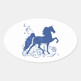 Saddlebred Five Gait Floral Blue Oval Sticker