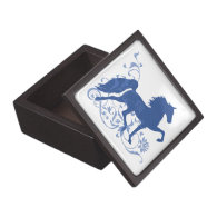 Saddlebred Five Gait Floral Blue Premium Keepsake Boxes