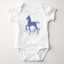 Saddlebred Foal Flowers in blue Baby Bodysuit