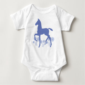 Saddlebred Foal Flowers in blue Baby Bodysuit