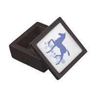 Saddlebred Foal Flowers in blue Premium Trinket Boxes