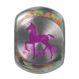 Saddlebred Foal Flowers Orchid Glass Candy Jar